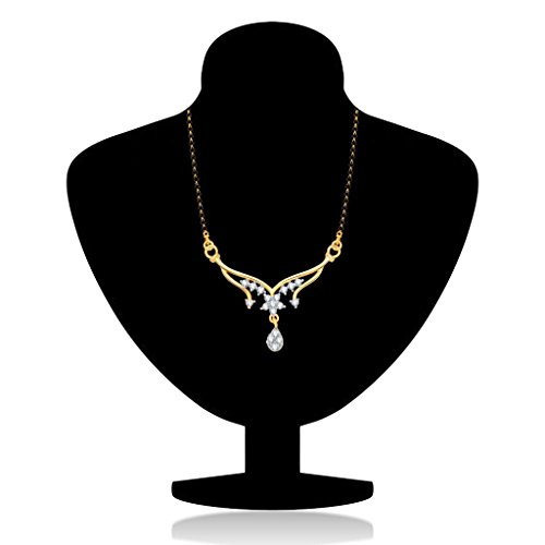 VK Jewels Padmaja Gold and Rhodium Plated Alloy Mangalsutra for Women made with Cubic Zirconia  –  MP1212G [VKMP1212G]