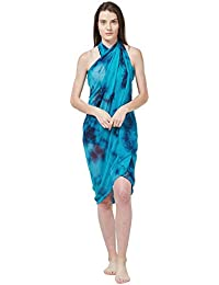 f211ec6ec95fd SOURBH Women s Faux Georgette Beach Wear Wrap Sarong Printed Pareo Swimsuit  Cover Up (S370 Turquoise)