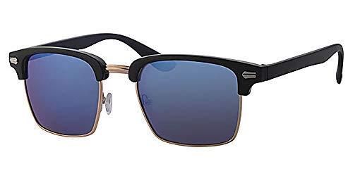 Quadratisch Sonnenbrille, frei gelb Hals Kordel, blau spiegel Objektiv, Schwarz Kunststoff und Gold Metall Rahmen