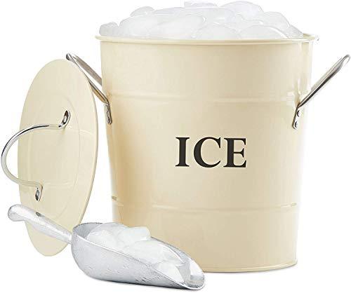 Andrew James, Secchiello per il ghiaccio in stile vintage con coperchio e cucchiaio da portata, capacità 3litri