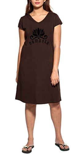 Clifton Women's Printed Long Top Night Wear -Dark Chocalate -Namaste-B-L