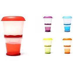 Muesli to Go - Tazza Termica per Cereali da Viaggio, con Scomparto Refrigerante per Yogurt/Latte e Cucchiaio Incluso. Colore: Rosso