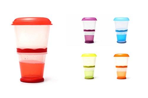 Müsli To Go Becher mit Milch-Kühlfach & Löffel, Müslibecher, Joghurtbehälter, Thermobecher, Müslidose - Rot