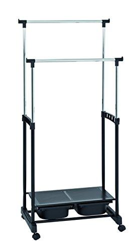 HAKU Möbel 44577 Rollgarderobe, Stahl, Kunststoff, schwarzchrom, 43 x 71 x 105 cm