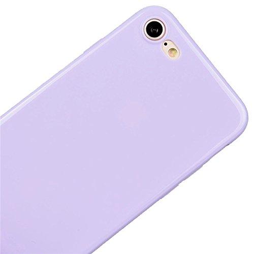 Coque iPhone 7 , Yokata Solide Mat Anti-Fingerprint Case Housse Étui Soft Doux TPU Silicone Flexible Backcover Ultra Mince Coque - Jaune Pourpre