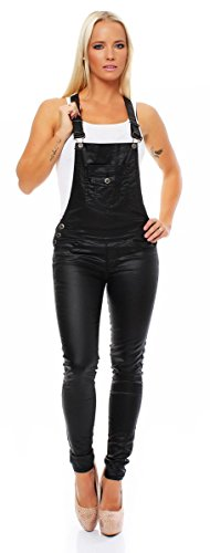4170 Fashion4Young Damen Latzhose pants Träger Röhrenjeans Lederimitat Wet Look Jeans