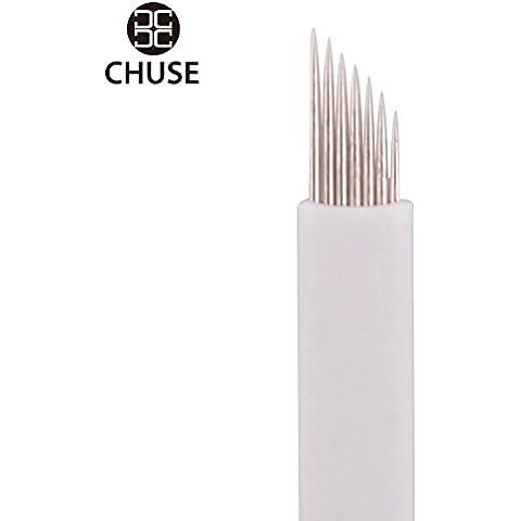 Chuse ceja pigmentación MicroBlade permanentes del maquillaje de la aguja S7 50pcs / caja de mano del tatuaje Microblading 7 inclinado Cuchillas Tratamiento