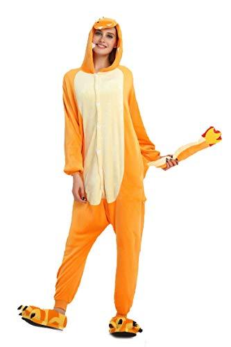 heekpek Jumpsuit Tier Cartoon Fasching Karneval Schlafanzug Erwachsene Unise Pyjamas Sleepsuit Pyjamas Kostüm, Hai, Flusspferd, Drache, Wolf, Kuh (Fliegender Drache, M:Geeignete Höhe ()