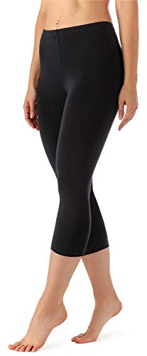 Merry Style Leggings 3/4 Pantaloni Capri Donna MS10-144 (Nero, 5XL)