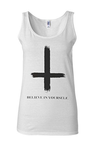 Inverted Cross Beleive in Yourself Novelty White Femme Women Tricot de Corps Tank Top Vest **Blanc