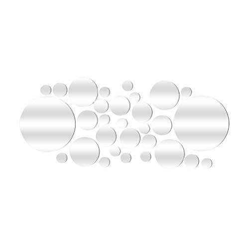VORCOOL 28 STÜCKE Spiegel Wandaufkleber Selbstklebende Abnehmbare Runde Spiegel Decor Kreis Spiegel Aufkleber Aufkleber Dekoration (Silber)