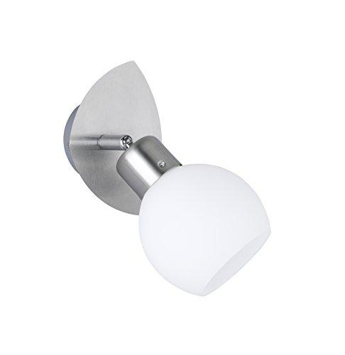 Trio Leuchten LED-Spot in Nickel inklusiv 1x E14, 4 Watt LED, 13x9 cm, Glas opal matt weiß 824810107