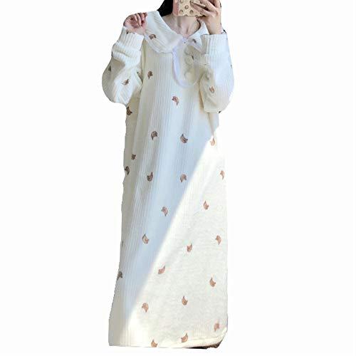 DISCOUNTL Langarm-Nachthemd mit Bananenmuster, aus Plüsch, für Damen, langärmeliges Nachthemd, Bademäntel für Damen Gr. Einheitsgröße, weiß