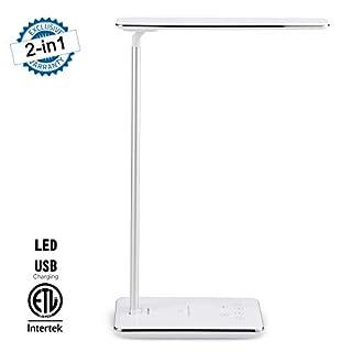 AGM LED Schreibtischlampe,LED Tischleuchte,4 Farb und 7 Helligkeitsstufen dimmbar Touchbedienung USB-Anschluss für Büro Arbeit usw