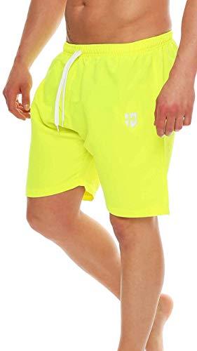 Gennadi Hoppe Herren Badeshorts Badehose Beach Shorts Schwimmshort,Neongelb, Large