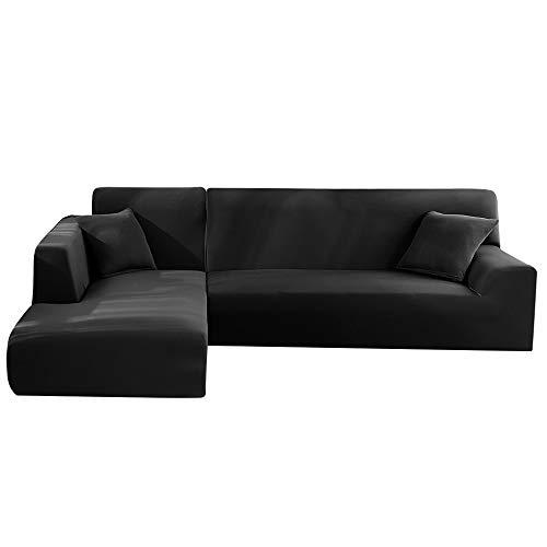 Seebesteu copridivano con penisola chaise longe elasticizzato per divano a forma di l (nero, 3 posti+3 posti)