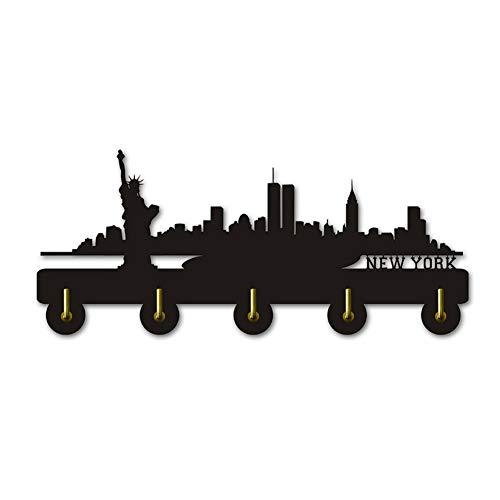 New York Skyline Silihouette Escudo Gancho Creativo Arte de la Pared Decoración Colgador de Madera Ganchos y rieles de Almacenamiento en el hogar, Negro
