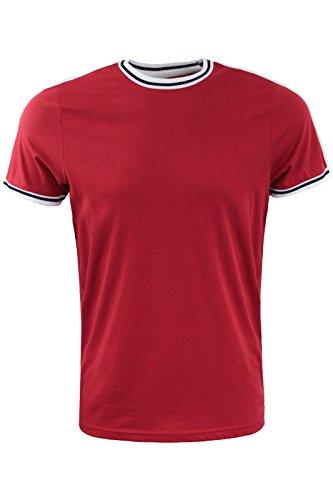 Brave Soul Herren T-Shirt Rot / Schwarz / Weiß