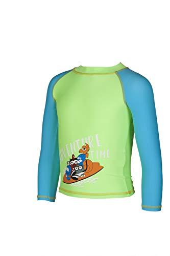 ARENA Kinder Sonnenschutz Langarm Shirt Uv, Shiny Green-Sea Blue, 92
