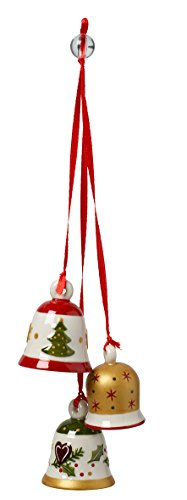 Villeroy & Boch MyChristmas Tree Ornamento a Tre Campanelle di Natale, Porcellana, Rosso, 16 x 8.5 x 13