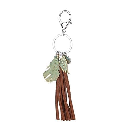 Covermason Dreamcatcher Turquoise/Ball/Rhinestone/Feather Keyring Tassel Handbag Car Purse Keychain Pendant Adornment (Brown