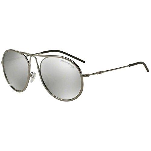 Emporio Armani Unisex EA2034 Sonnenbrille, Silber (gunmetal 30106G), Medium (Herstellergröße: 54)