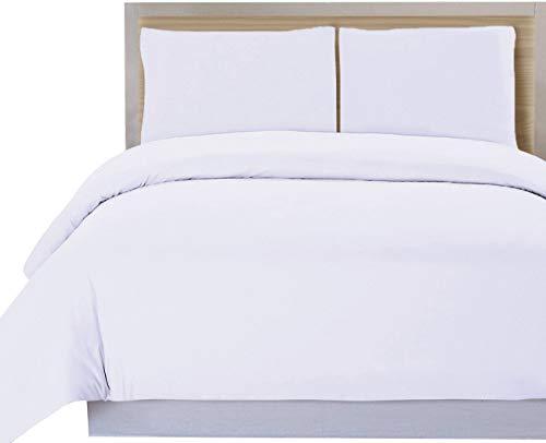 Utopia Bedding Set Copripiumino - Copripiumino Plus Cuscino Sham, Lussuoso Morbido Antirughe di qualità, Resistente allo sbiadimento - by (Copripiumino 230x220 cm 2 Federa 50x75 cm, Bianca)