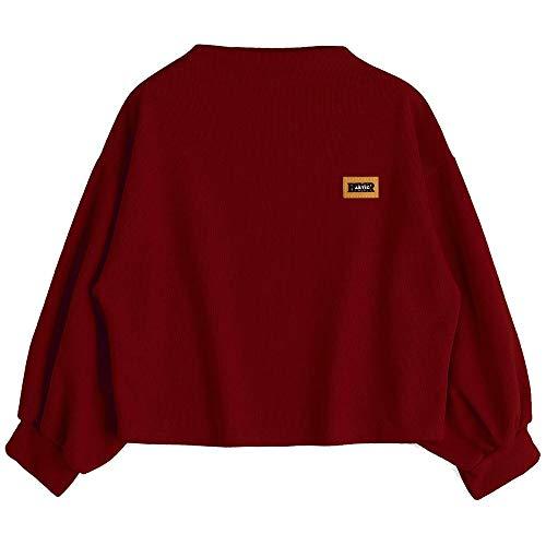 iHENGH Top Damen,Women Herbst Lange ÄRmel Druck-Drawstring Hoodie Sweatshirt Bluse T Shirt Pullover Crop Tops Damen Mode