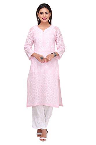 ADA Handicraft Lucknowi Chikankari Womens Casual Cotton Kurta (A220986_Pink)