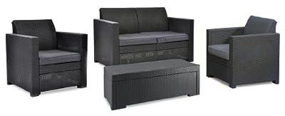 Keter 17193582 Lounge Set Limousine Storage Set, Rattanoptik, Kunststoff, anthrazit