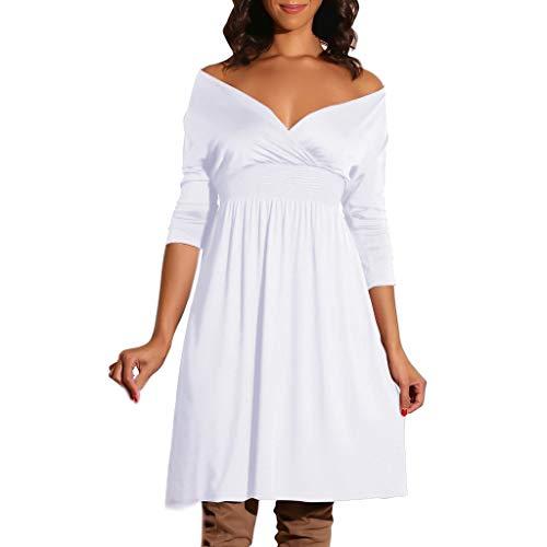 QingJiu Damenmode Damen V Ausschnitt Langarm Volltonfarbe BeiläUfiges Partykleid (Medium, Weiß)