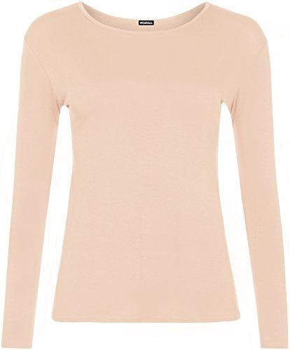 WearAll - Damen T-shirt langarm Top - Pfirsich - 36-38