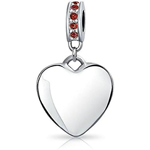Bling Jewelry Plata Esterlina Cuelgue Corazón Granate CZ Cordón simulado se