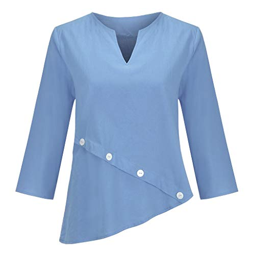 uen V-Ausschnitt Pure Color Mittelarm Button T-Shirts Tops Blusen ()