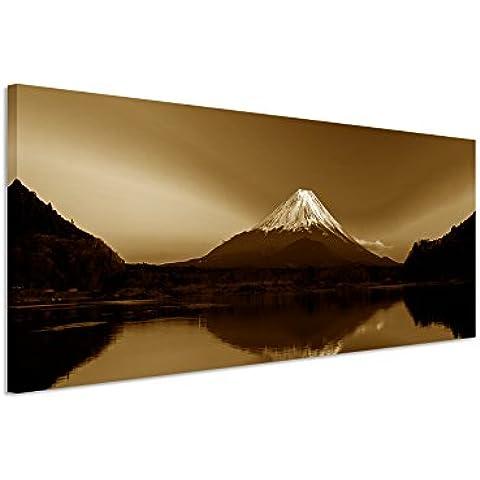150x 50cm–cuadro panorámico Foto lienzo en sepia Amanecer Montaña Fuji Japón