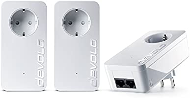 Devolo dLAN 550 duo+ Powerlan Adapter Netzwerk Kit (500 Mbit/s, 3 Adapter im Set, LAN Port, Netzwerk, Powerline, range+, Steckdose) weiß