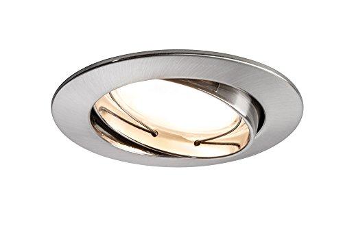 Eisen Bad Lampe (Paulmann 928.35 Premium EBL Set Coin dimmbar satiniert rund schwenkbar LED 3x7W 2700K 230V 51mm Eisen gebürstet 92835 Spot Einbaustrahler Einbauleuchte)