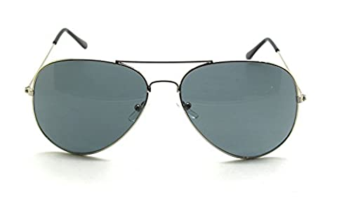 RetroUV® Premium Full Mirrored Aviator Sonnenbrille Classic Metal Rahmen Uv400 (Silber Rahmen / Schwarz Linse)