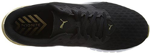 Puma Ignite Dual Gold Wn's, Chaussures de Running Compétition Femme Noir - Schwarz (puma BLACK-GOLD 02)
