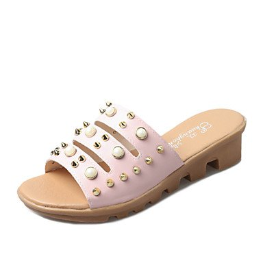 zhENfu Donna Sandali Estate similpelle outdoor Abbigliamento Sportivo Split Sole imitazione perla rivetto arrossendo Rosa Bianco Beige a piedi Blushing Pink