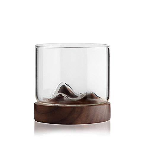 MOGOI Whiskeygläser 2er Set Mountain Cup Old Fashion Tumbler Gläser für Bourbon, Scotch Whisky, Cognac, Cocktails, Holzboden A(1glass+1bottom)