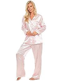 Slumber Hut® Satin Pyjamas Candy Stripe Long Sleeved Full Length Ladies  Pink White Silk-Feel Summer Nightwear Size… de8ec42b4