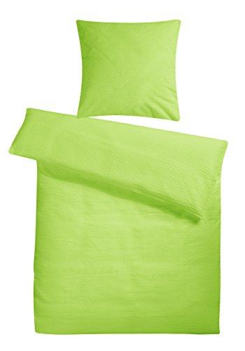 Leichte Seersucker Bettwäsche 155 x 220 cm Grün – atmungsaktiver Kopfkissen- und Bettdecken-Bezug aus reiner Baumwolle mit Reißverschluss – 2 teiliges kühles Sommer-Bettwäsche Set - Bettdecken Grüne