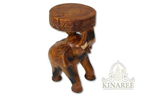 Geschnitzte Hocker (Kinaree Holz Beistelltisch Chang geschnitzt als Elefant aus massivem Suar)