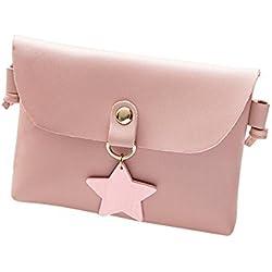 Damen Mini Kleine Leder Umhängetasche Hirsch Crossbody Frauen Retro Handtasche (Star Rosa)