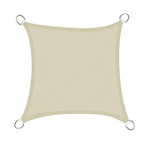 Greenbay Voile d'ombrage Carré | 4x4m Crème | Une Protection des Rayons UV | Toile d'ombrage Auvent Pare-Soleil de Jardin