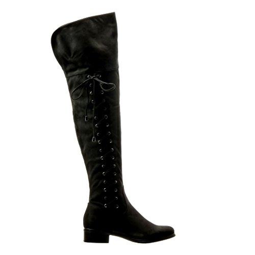 Angkorly - Chaussure Mode Cuissarde Botte cavalier souple femme lacets noeud Talon bloc 3.5 CM Noir