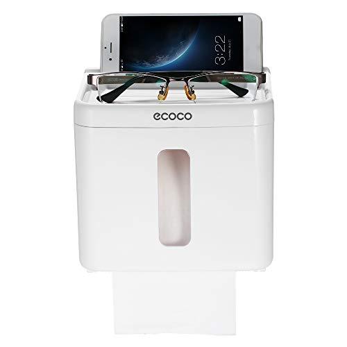Decdeal Wandmontage Papierspender Tissue Box Ohne Bohren Rollenpapierspender mit Ablage Kunststoff Toilettenpapierhalter Hygieneschale mit Transparente Sichtfenster 14.5 x 13.4 x 14.3cm