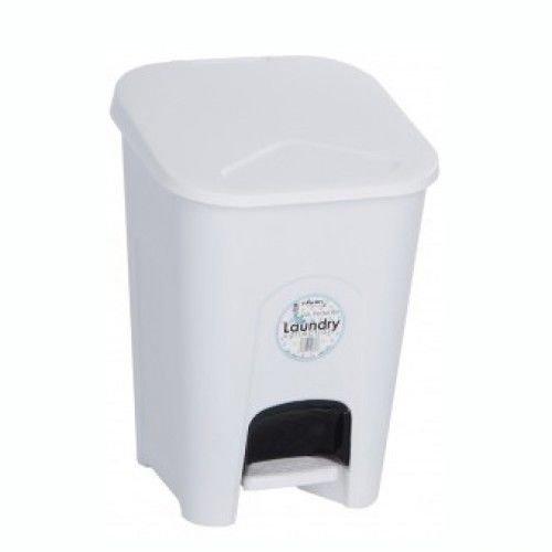 Treteimer aus Kunststoff, Weiß, 16L, für Wäsche, Wäschekorb, Windeleimer, zur Aufbewahrung, mit abnehmbarem inneren schwarzen Korb