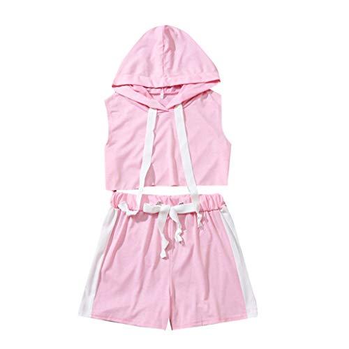 xmansky Eltern-Kind-Kleidung Partnerlook,Mutter und Tochter der Frauen Feste Farbe mit Kapuze Sportband Eltern-Kind-Sportkleidung 2-teiliger Anzug(Mama)